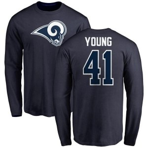 Kenny Young Los Angeles Rams Youth Navy Name & Number Logo Long Sleeve T-Shirt -