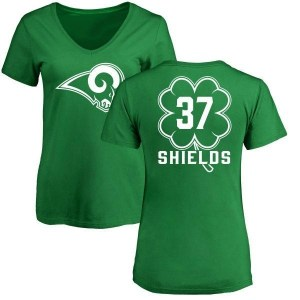 Sam Shields Los Angeles Rams Women's Green St. Patrick's Day Name & Number V-Neck T-Shirt