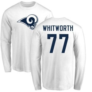 Andrew Whitworth Los Angeles Rams Men's White Pro Line Name & Number Logo Long Sleeve T-Shirt -