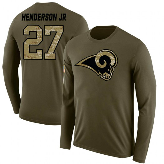 Darrell Henderson Los Angeles Rams Youth Legend Olive Salute to Service Sideline Long Sleeve T-Shirt